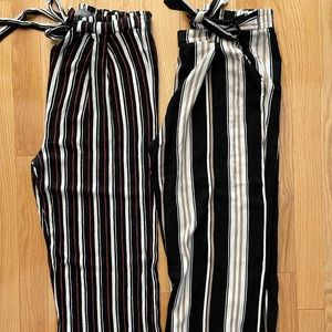 Trovar/Suzy Shier Striped Cropped Pants- 2 Pairs